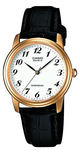 Casio Collection MTP-1236PGL-7BEF, Reloj Clasico de Cuero para Hombre, Blanco y Negro: Amazon.es: Relojes