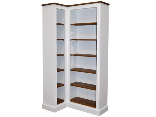 100% Solid Wood Corner Bookcase, 6ft Handcrafted & White Painted  Contrasting Adjustable Storage Display - White Corner Bookshelves IDI Design