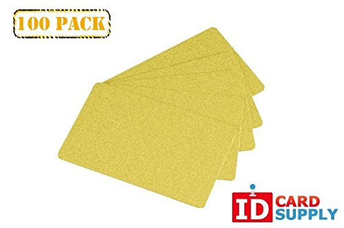 Pack of 100 Premium Yellow Gold CR80 Standard Size PVC Cards | 30 mil Thickness by easyIDea