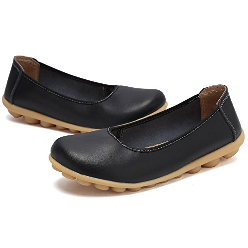 CIOR Damen Echtes Leder Loafers Casual Mokassin Fahr Schuhe Indoor Flache Slip-On Hausschuhe Schwarz
