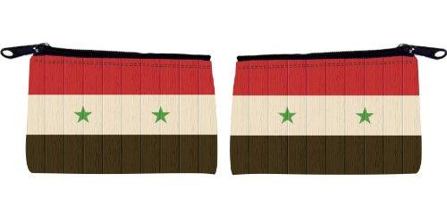 Rikki KnightTM Syria Flag on Distressed Wood Design Scuba Foam Coin Purse