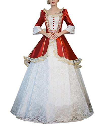 Ladies Medieval Renaissance Victorian Dresses Masquerade Costumes Queen Ball Gown Red -