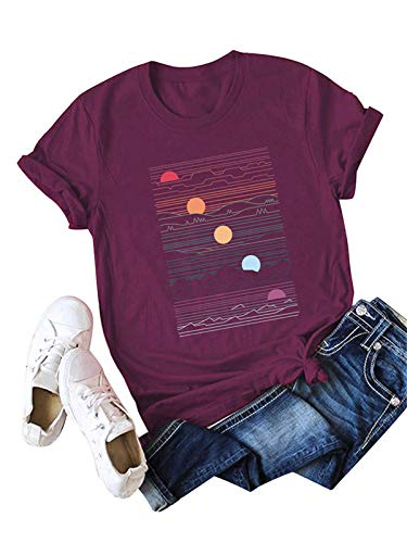 Festnight Fashion Women T-Shirts Printing, Women's Cute T Shirt Junior Tops Teen Girls Graphic Tees Burgundy