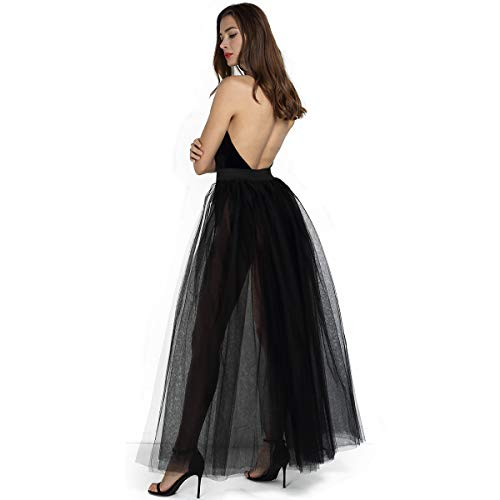 Long Black Skirt Halloween Costumes - Women's 4 Layers Overlay Long Tulle
