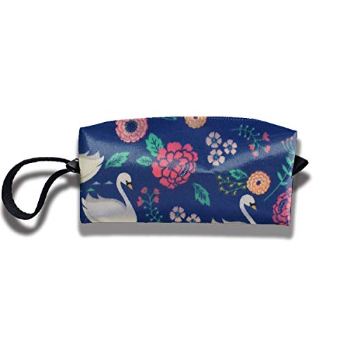 Cosmetic Bags With Zipper Makeup Bag White Swan And Flowers Middle Wallet Hangbag Wristlet Holder -