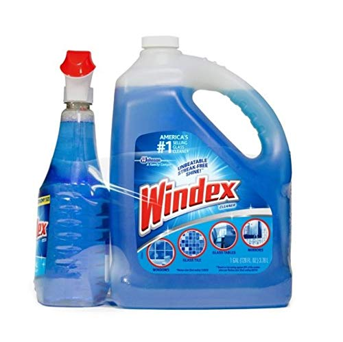 Windex Advanced Glass & Multi Surface Cleaner 23 Ounce Spray Bottle And 2 Liters Refill Bottle