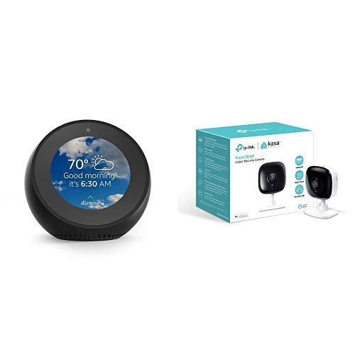 Echo Spot - Black Bundle with Kasa Indoor Smart Security Camera, 1080P HD with Night Vision