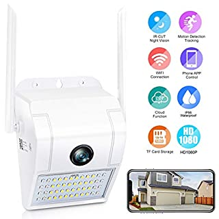 FHD Outdoor Security Camera with Light, IP65 Waterproof Floodlight Camera, Two-Way Talk,Zone Alarm, Color & Infrared Night Vision, Plug-in 110V to 12V Power Adapter, Not Battery Powered