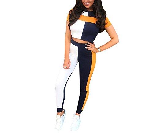 JUNBOON Women's 2 Pieces Jumpsuits Short Sleeve Crop Top Long Pant Outfit Tracksuits (Orange, L)