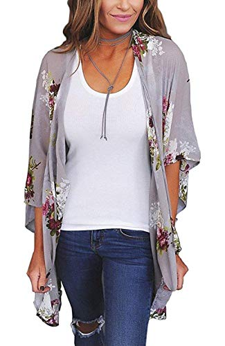 (Womens Floral Print Kimono Cardigan Loose Puff Sleeve Cardigans Patchwork Cover Up Blouse Top Gray M)
