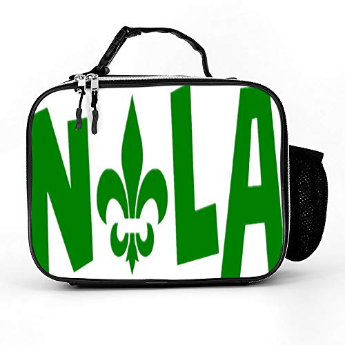 Welkoom Lunch Bag With Nola New Orleans Louisiana Party Spacious Insulated School Lunch Box Durable Thermal Lunch Cooler Pack With Strap For Boys Men Women Girls -