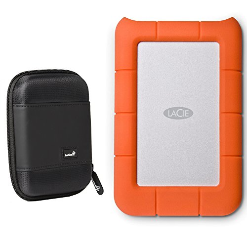LaCie Rugged Mini USB 3.0 / USB 2.0 4TB External Hard Drive (LAC9000633) With Ivation Compact Portable Hard Drive Case (Small) by Calumet