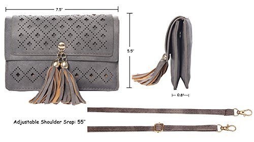 Small Tassel L Girls Crossbody Double Teen Gray Compartment Phone with for Women Purse Bag Fnxq0S6