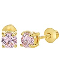 18k Gold Plated October Pink Crystal Screw Back Earrings Girls 3mm