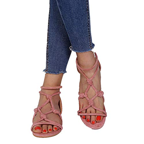 sweetnice Women Shoes Womens Gladiator Strappy Flat Open Toe Lace Up Strap Ankle Wrap Summer Beach Thongs Flat Sandals (US:5.5, -