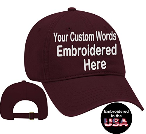Custom Text Embroidered Dad Hat. Unstructured Adjustable Metal Buckle (Maroon Dad Hat)