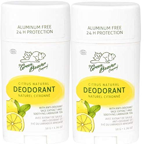 Green Beaver Citrus Natural Deodorant Stick (Pack of 2) with Organic Aloe Vera Juice, Sage Oil, Labrador Tea and Chamomile Flower Water, Aluminum-free, Gluten-free and Paraben-free, 1.76 oz