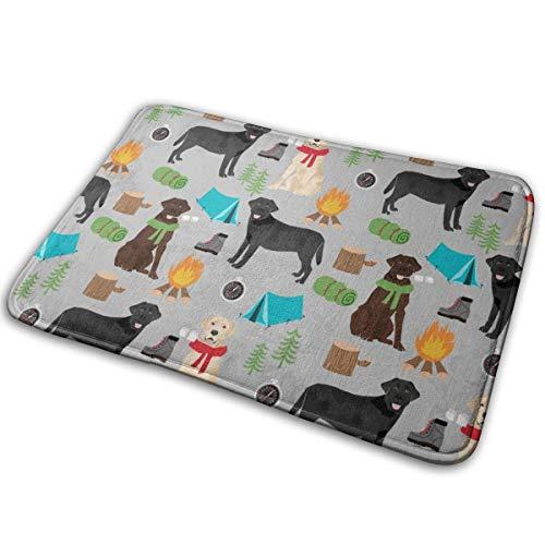 shirt home Labrador Camping - Chocolate Lab, Black Lab - Dog, Dogs - Grey_20122 Doormat Entrance Mat Floor Mat Rug Indoor/Outdoor/Front Door/Bathroom Mats Rubber Non Slip 23.6