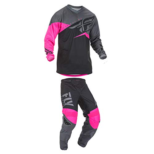 Fly Racing 2019 F-16 Jersey and Pants Combo Youth Neon Pink/Black/Gray Small,18 (Dirt Bike Jersey And Pants Youth)