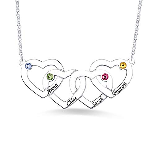 (RESVIVI Sterling Silver Personalized Four Intertwined Hearts with Birthstones Name Necklace Custom Made Any Name Pendant Necklace)