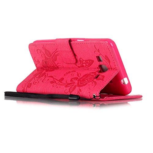 JIALUN-Personality teléfono shell Funda Samsung Galaxy Prime G530, caja de Kickstand con cubierta de caja de diamantes de imitación Butterfly en relieve con tarjetas y portamonedas para Samsung Galaxy Rose