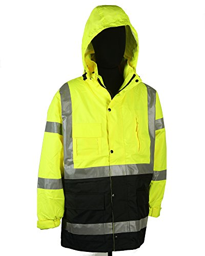 Safety Depot Two Tone Lime Yellow Black Reflective Class 3 Safety Parka Jacket With Zipper and Pockets 736c-3 (Small) 1