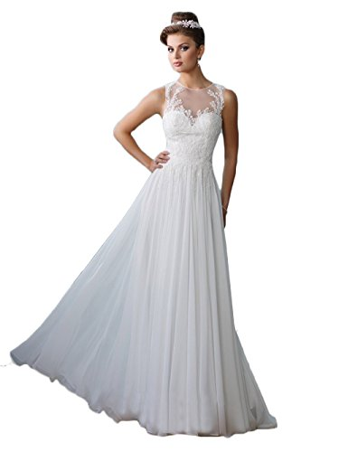 Wedding Chiffon Gown Train - Datangep Women's Lace Appliques Beaded A-line Chiffon Floor Length Sweep Train Beach Chiffon Bridal Gown Wedding Dress White US10