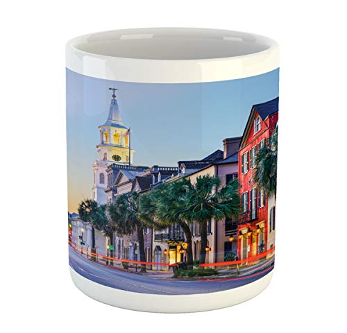 Ambesonne Charleston Mug, USA Cityscape in Historic French Quarter at Sundown Southern Tourist Attraction, Ceramic Coffee Mug Cup for Water Tea Drinks, 11 oz, ()