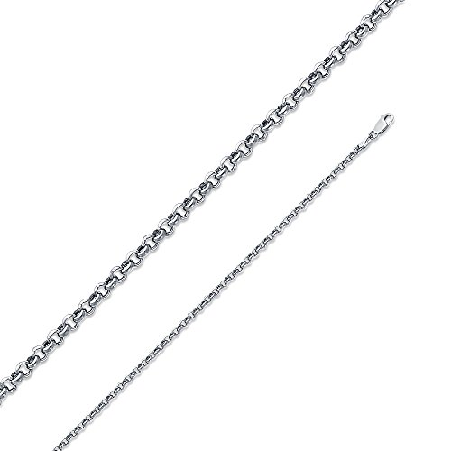 14k White Gold 2.5mm Hollow Classic Rolo Chain Necklace (Classic Rolo Chain)