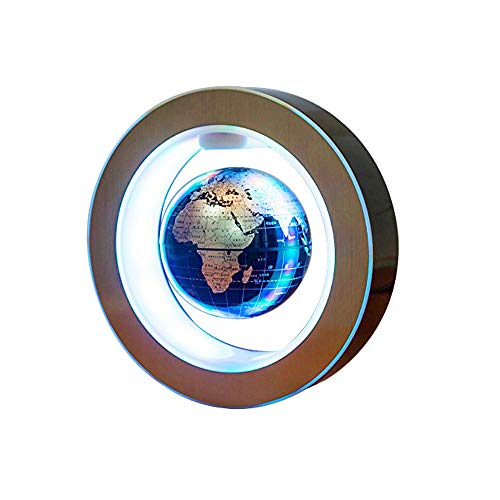 Genmine Magnetic Levitating Globe, 4'' Magnetic Floating Globe with Led Lights High Rotation LED Light Anti Gravity Globe Round Shape Decoration for Home (US Plug)
