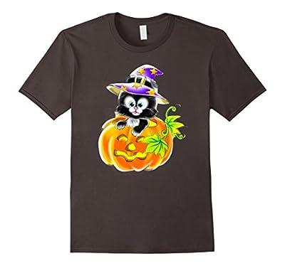 Funny Pumpkin Cat Halloween T-Shirt- Cat Witch T-Shirt