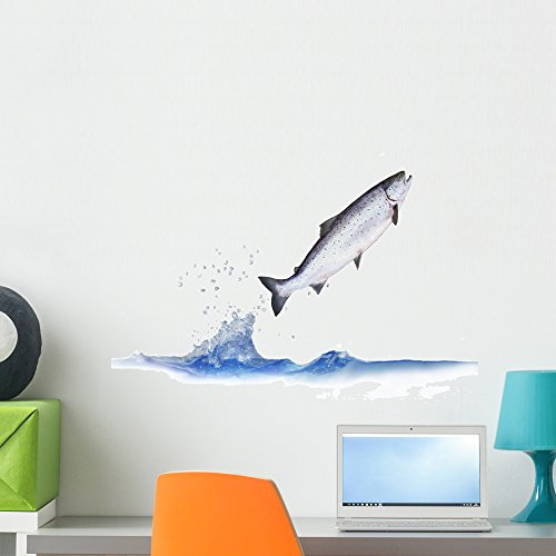Wallmonkeys Jumping out from Water Salmon Peel and Stick Wall Decals WM78532 (24 in W x 19 in H)