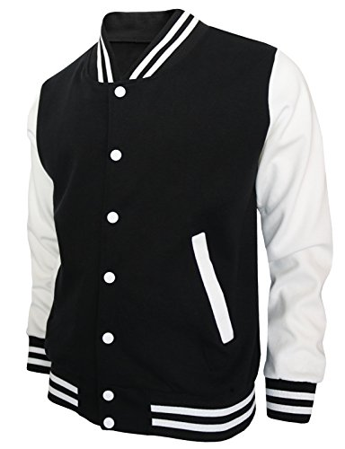Review BCPOLO Baseball Jacket Varsity Baseball Cotton Jacket Letterman jacket 8 Colors-black S