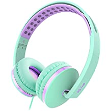 On Ear Headphones with Mic, Jelly Comb Foldable Corded Headphones Wired Headsets with Microphone, Volume Control for Cell Phone, Tablet, PC, Laptop, MP3/4, Video Game (Green & Purple)