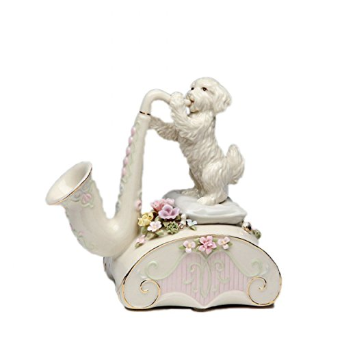 Cg 80080 White Dog Standing on Pillows Playing Saxophone by Cg