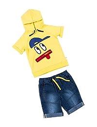 Kinderkind Boys Zipper Mouth Hoodie & Denim Shorts Set : Sizes 2T-3T-4T-5T-6-7