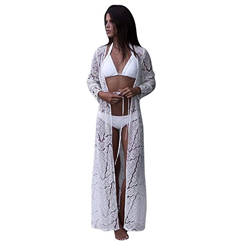 - Plus Size Lace Cardigan for Women Long Loose Shawl Kimono Top Cover Up Beachwear