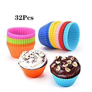 Startingline Silicone Paper Cup Cake Mould Cake Baking Cup Reuse Round 32pcs Color Bakeware Sets Home Kitchen