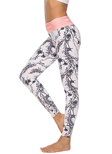 Mint Lilac Women's Printed Yoga Pants Full-Length Workout Leggings with Ruched Waistband Medium Peach