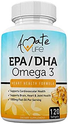 Omega 3 Fish Oil Supplement EPA DHA 1000mg Support Brain Functions, Cardiovascular, Heart & Joints Health Dietary Supplement for Men & Women - 120 Softgels Capsules Made in USA by Amate Life