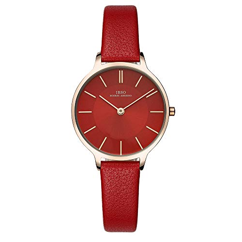 IBSO Women Fashion Simple Watch Ultra-Thin Retro Quartz Analog Leather Strap Ladies Wristwatch - Ladies Wristwatches