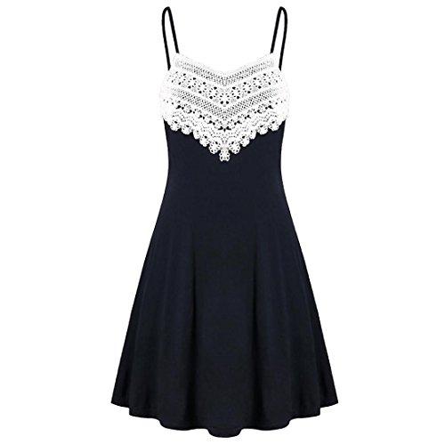 Howley Fashion Womens Crochet Lace Backless Mini Slip Dress Camisole Sleeveless Dress (Black, S)