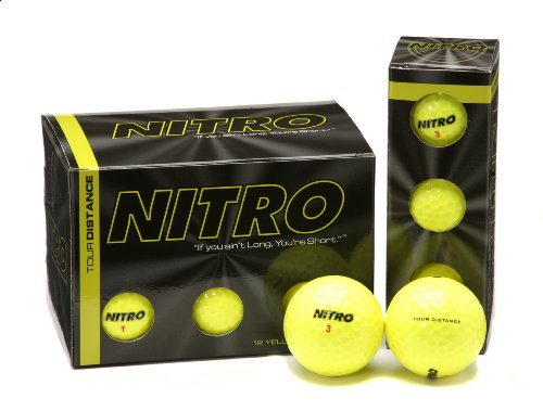 Nitro Tour Distance Golf Balls (Pack of 12, Yellow)