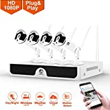 Security System Wireless, JOOAN 2.0MP 4 x 1080P IP Cameras Outdoor Security Cameras Wireless Security CCTV Surveillance Systems Plug and Play Indoor/Outdoor - NO HDD Included