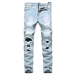 Enrica Men's Ripped Skinny Destroyed Holes Jeans Slim Fit Denim Pants