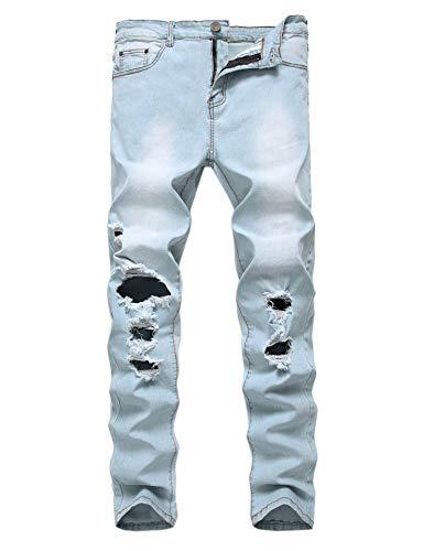 Enrica Mens Ripped Skinny Destroyed Holes Jeans Slim Fit Denim Pants