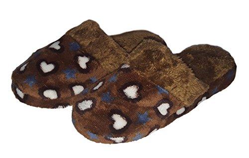 Pantofole A Forma Di Cuore E Stelle Stampate Morbide Da Donna (media 7-8, Marrone)