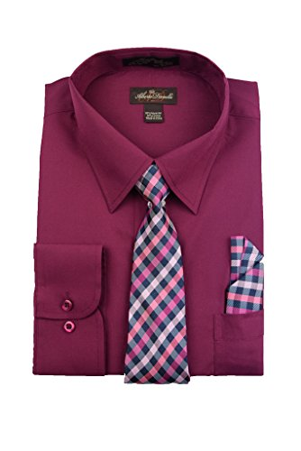 Alberto Danelli Men's Long Sleeve Dress Shirt with Matching Tie and Handkerchief, XLarge / 17 Neck -34/35 Sleeve, Plum