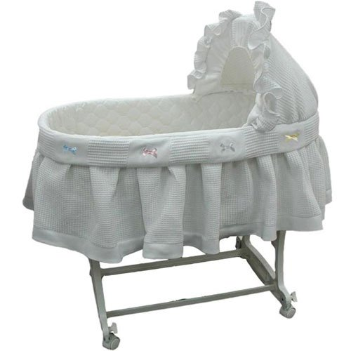Babykidsbargains Short Pique-Fleece Poly Cotton Bassinet Liner Skirt and Hood, 16''x32''