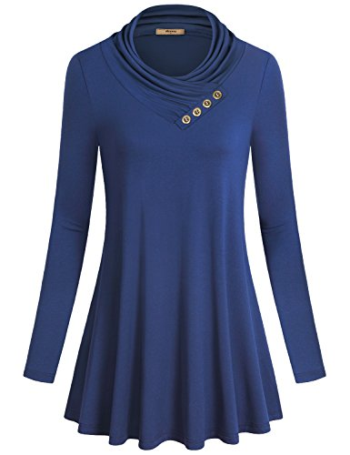 Miusey Tunics for Women Ladies Athletic Long Sleeve Decorative Button Design Cowl Neck Top Form Fitting Casual Knitted Round Swing Pleated Elastic Blouse Casual Work Sweaters Blue XXXL ()
